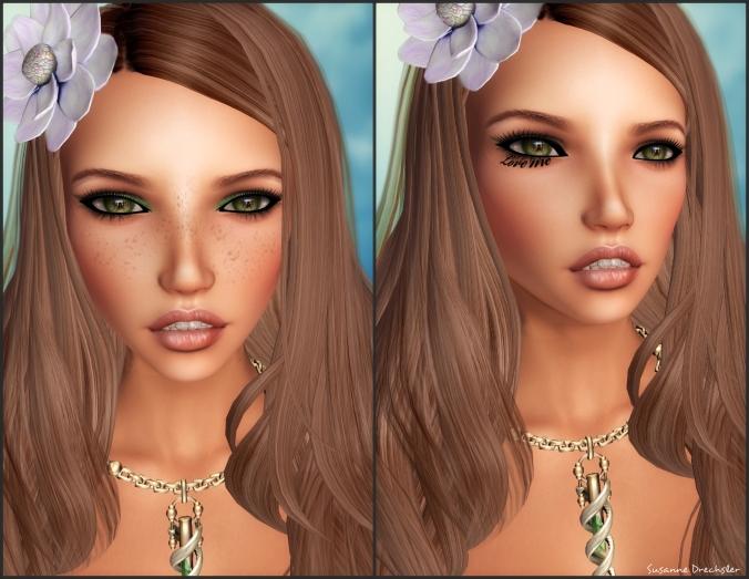 SlackGirl - Savanah Liner for EVE´olution Head @ Slackgirl; KosmO - Under Eye Text LOVE ME @ KosmO